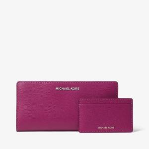 Michael Kors Large Crossgrain Leather Slim Wallet